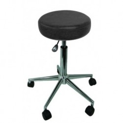 Tabouret Sellerie Cousue NOIR - CRONOS Piètement METAL CHROME